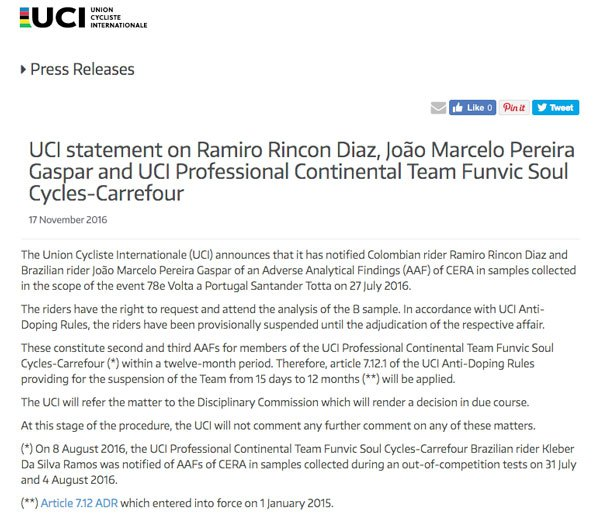Funvic Doping UCI