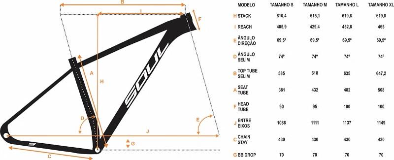 Geometria do quadro da bicicleta mountain bike de alumínio Soul Cycles SL929