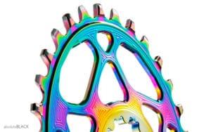 Coroa ovalada AbsoluteBLACK Arco-íris para pedivela SRAM