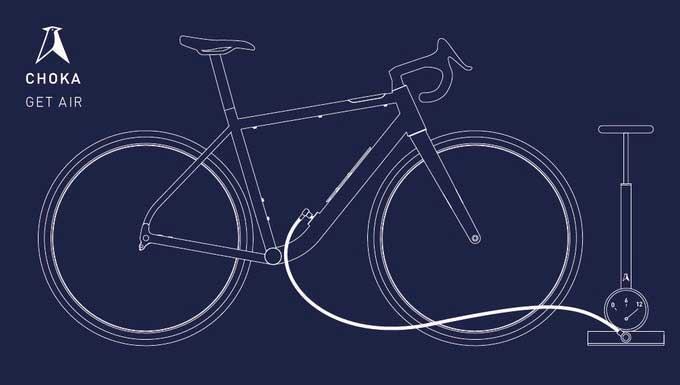 Sistema de carregamento da câmara de ar da bicicleta Choka